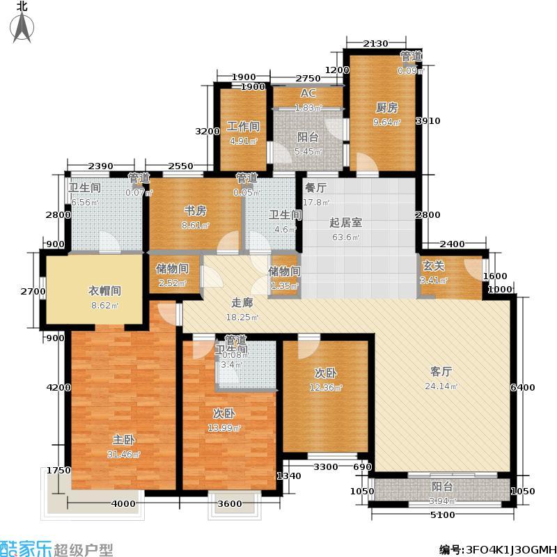 仁恒河滨花园240.00㎡二期高层标准层D2户型4室2厅
