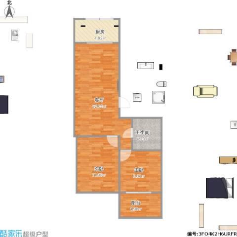 香海花园2室1厅1卫1厨75.00㎡户型图