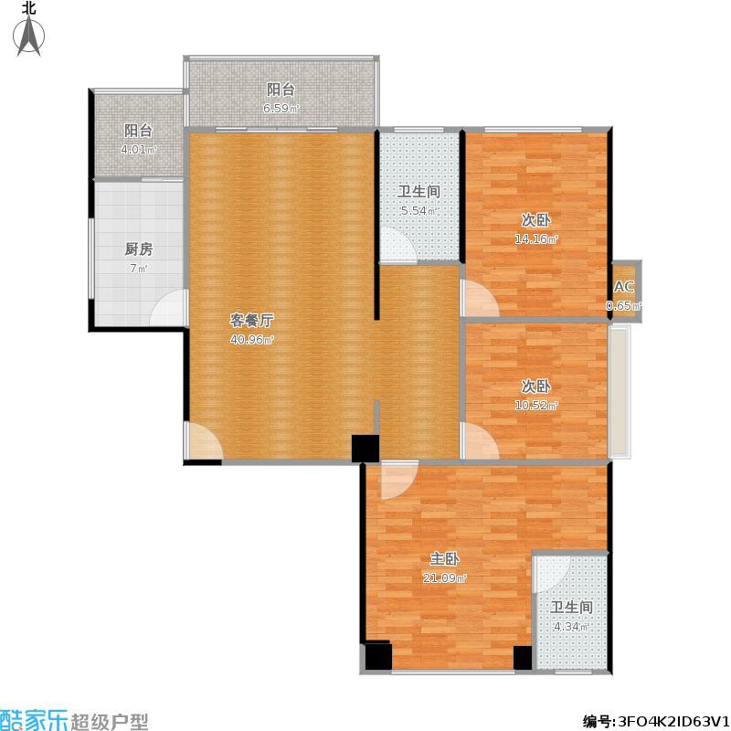 阳光上城124平A户型三室两厅两卫