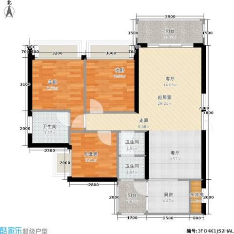 城中四季3室0厅3卫1厨93.00㎡户型图