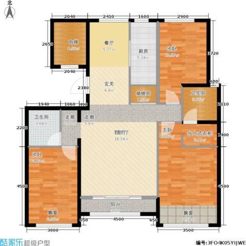 通州万达广场3室1厅2卫1厨132.00㎡户型图