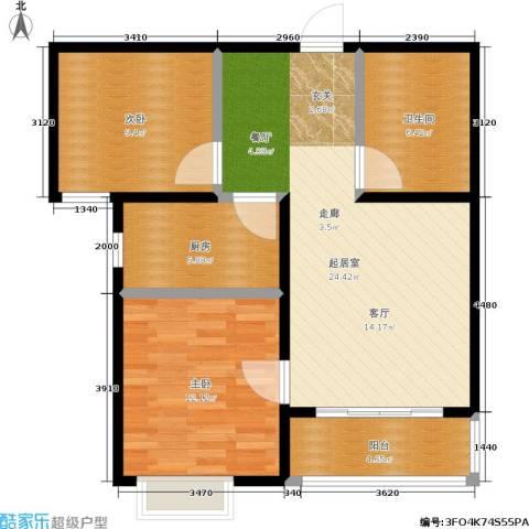 浩正�林湾2室0厅1卫1厨71.00㎡户型图