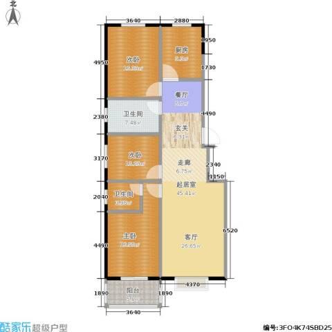 浩正�林湾3室0厅2卫1厨128.00㎡户型图