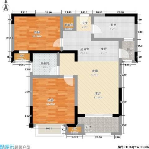 路劲主场琅悦2室0厅1卫1厨84.96㎡户型图
