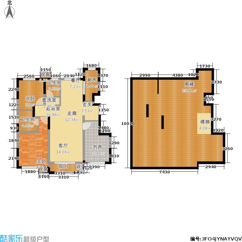 金地艺华年123.00㎡B区叠拼3号楼顶层B4D户型