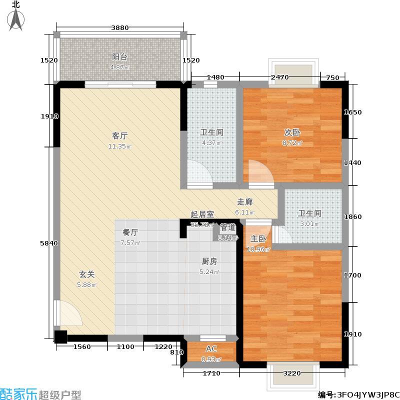 香悦水岸90.00㎡二期8号楼标准层C户型
