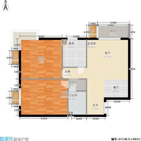 华联孔雀城2室0厅1卫1厨126.00㎡户型图