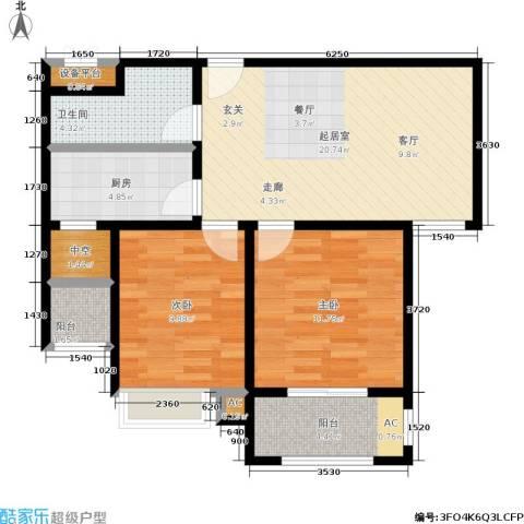 中南世纪城2室0厅1卫1厨83.00㎡户型图