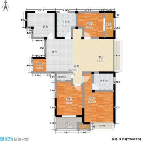 路劲主场琅悦3室0厅2卫1厨123.81㎡户型图