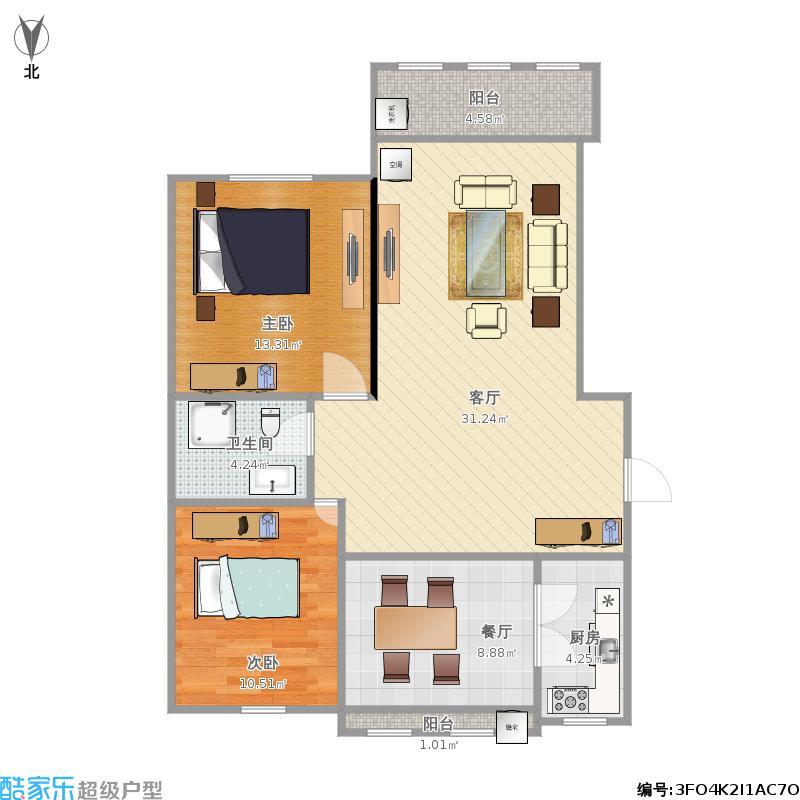 88平方两室两厅