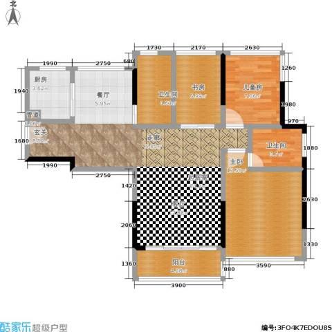美泰天韵3室0厅2卫1厨91.00㎡户型图
