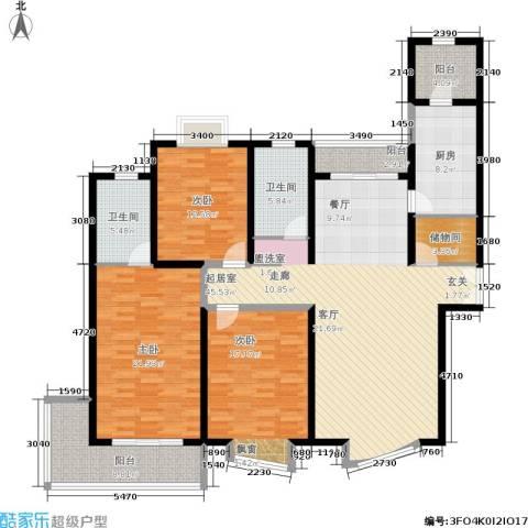 滨江名人苑3室0厅2卫1厨155.00㎡户型图