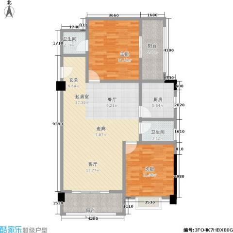 丽嘉花园2室0厅2卫1厨105.00㎡户型图