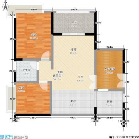 阳光圣菲2室0厅1卫1厨87.00㎡户型图