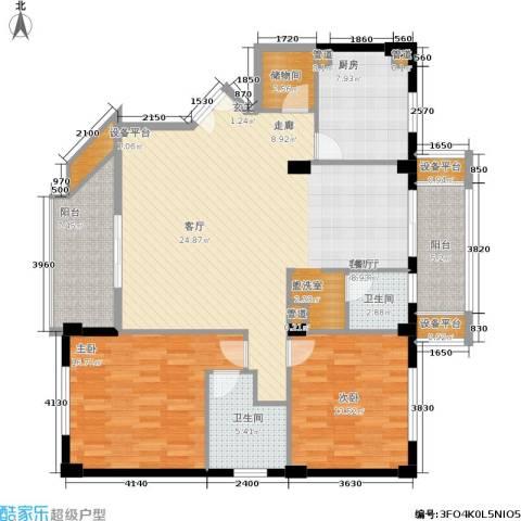 碧云东方公寓2室1厅2卫1厨124.98㎡户型图