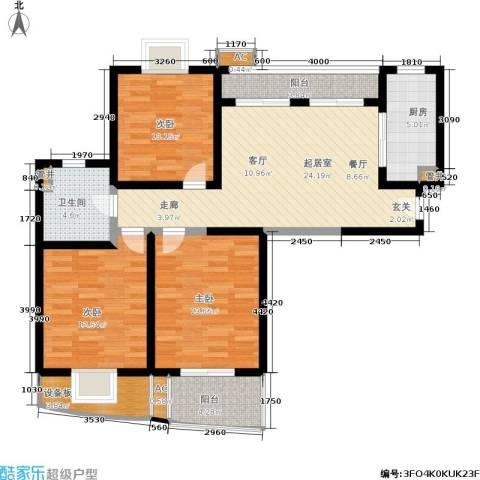 绿地蔷薇九里3室0厅1卫1厨98.00㎡户型图