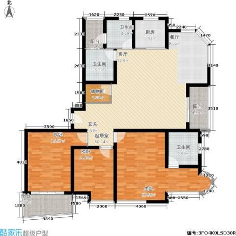 新时代富嘉花园3室0厅3卫1厨158.00㎡户型图