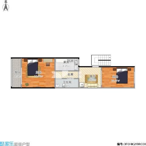 羊耳峪北里18号楼3单元201室2室1厅1卫1厨62.00㎡户型图