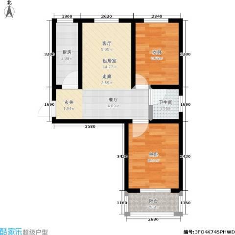 浩正�林湾2室0厅1卫1厨103.00㎡户型图