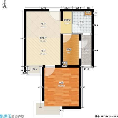 万邦都市花园1室1厅1卫1厨57.00㎡户型图