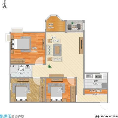 金辉融侨半岛云满庭B区4室1厅1卫1厨92.00㎡户型图