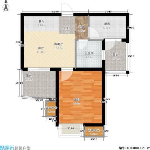 九城湖滨国际1室1厅1卫1厨58.00㎡户型图