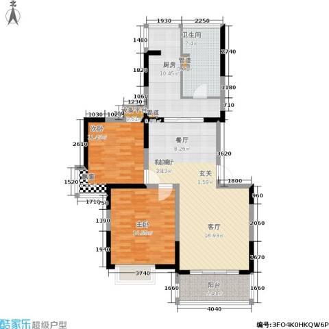 大华阳城七期阳城贵都2室1厅1卫1厨93.00㎡户型图