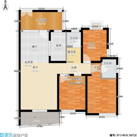 新时代富嘉花园3室0厅2卫1厨131.00㎡户型图
