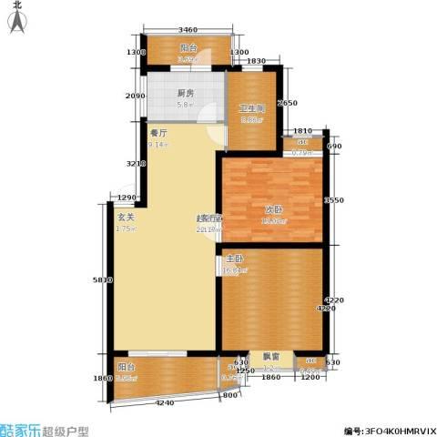 北桥春天2室0厅1卫1厨96.00㎡户型图