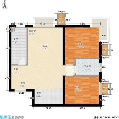 华联孔雀城2室0厅1卫1厨104.00㎡户型图