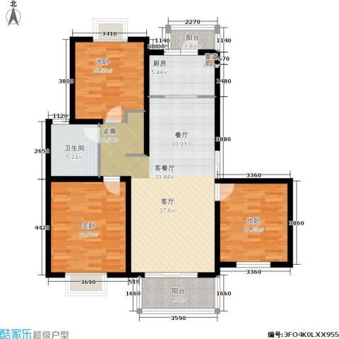 绿地南桥新苑3室1厅1卫1厨100.00㎡户型图