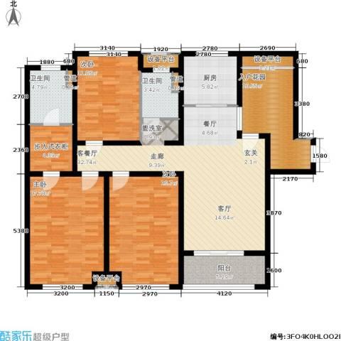 绿地公园壹品3室1厅2卫1厨135.00㎡户型图