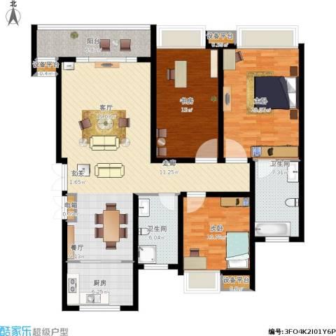 蓝天小区3室1厅2卫1厨162.00㎡户型图