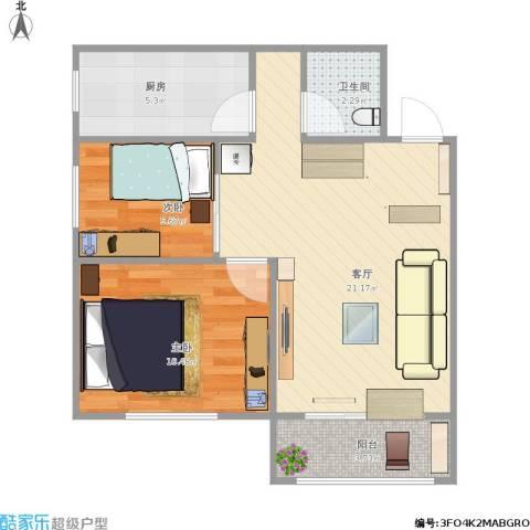万寿路西街5号院2室1厅1卫1厨66.00㎡户型图