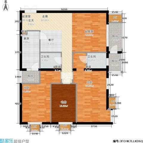 华联孔雀城3室0厅2卫1厨152.00㎡户型图