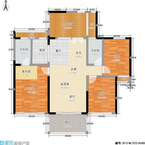 阳光圣菲3室0厅2卫1厨114.00㎡户型图