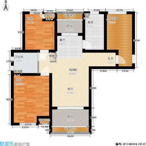 绿地公园壹品2室1厅1卫1厨93.00㎡户型图