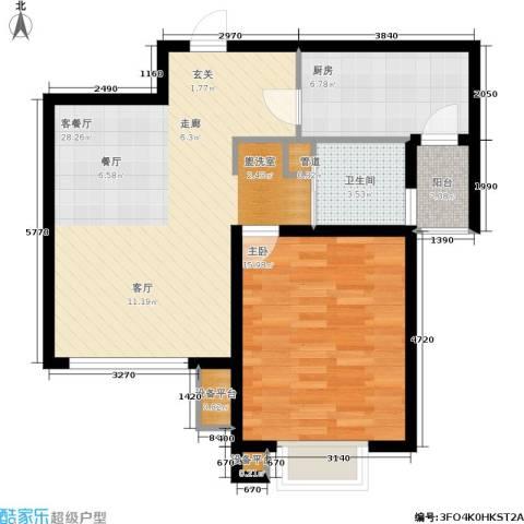 大华阳城七期阳城贵都1室1厅1卫1厨65.00㎡户型图