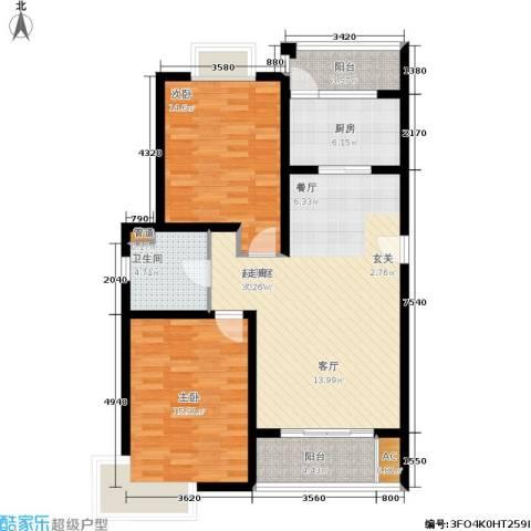 海上海新城2室0厅1卫1厨91.00㎡户型图