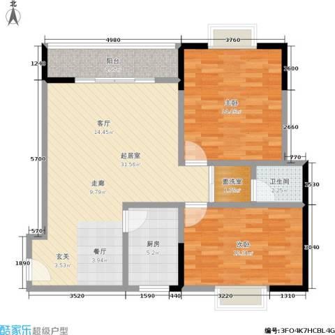 丽嘉花园2室0厅1卫1厨92.00㎡户型图