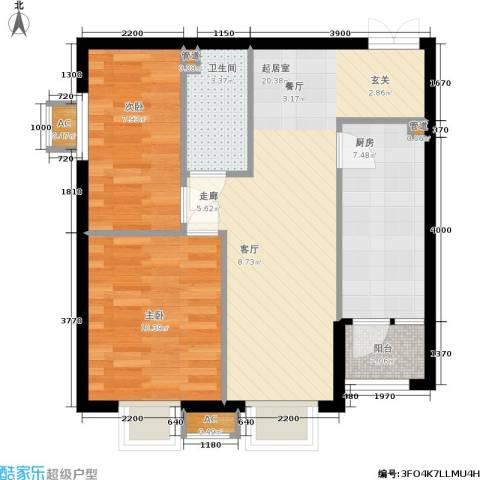 华联孔雀城2室0厅1卫1厨75.00㎡户型图