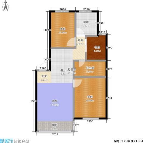绿江太湖城金色水岸3室0厅1卫1厨90.00㎡户型图