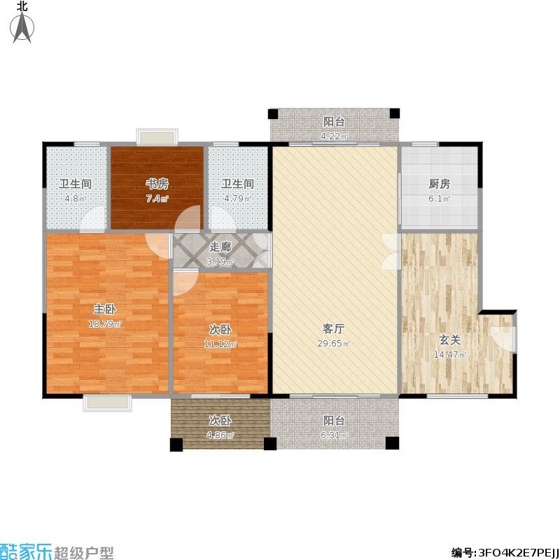 龙127方A1户型三室两厅