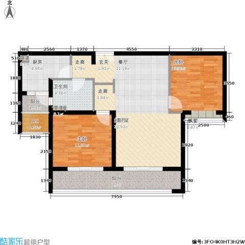 海上海新城2室0厅1卫1厨100.00㎡户型图