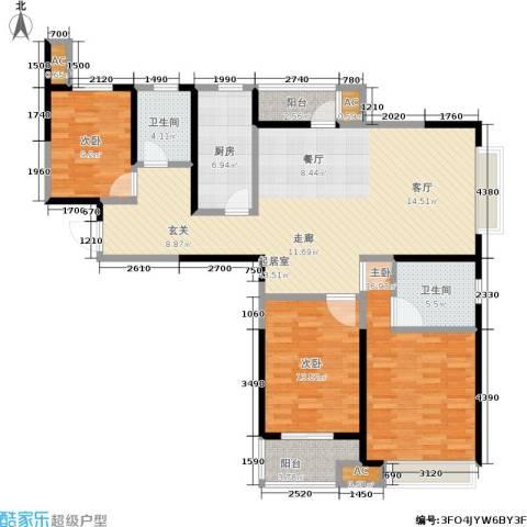路劲主场琅悦3室0厅2卫1厨122.50㎡户型图