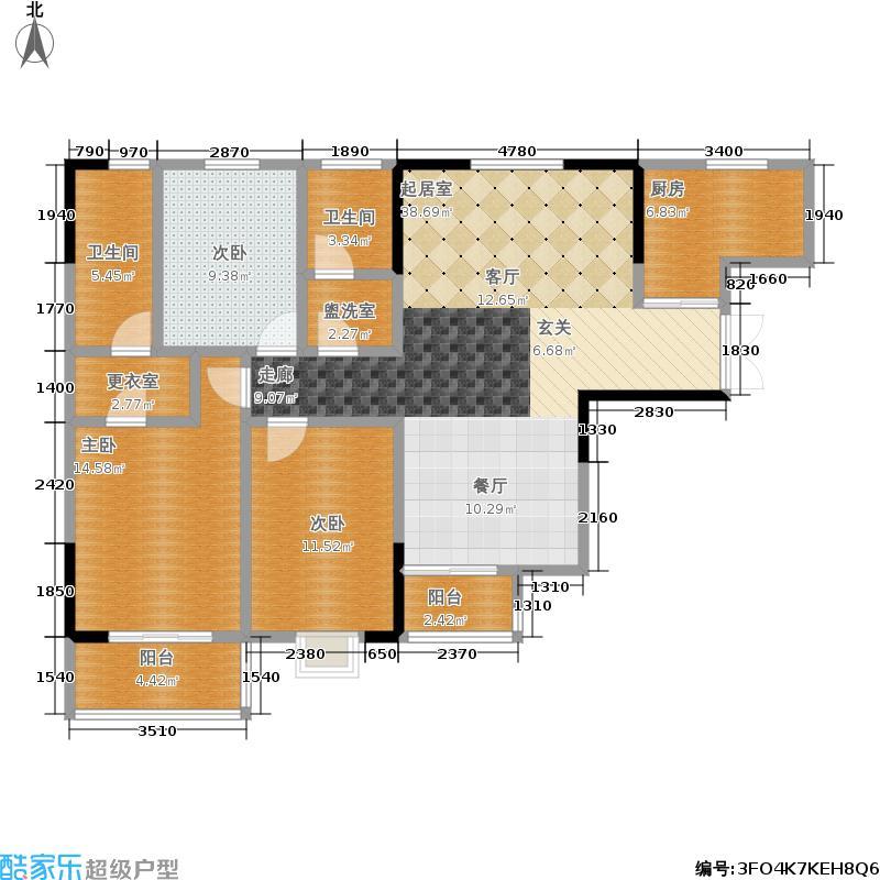金侨尚东区139.25㎡三室两厅两卫户型3室2厅2卫