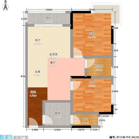丽嘉花园2室0厅1卫1厨83.00㎡户型图