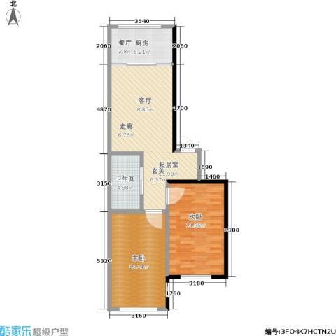绿江太湖城金色水岸2室0厅1卫1厨79.00㎡户型图