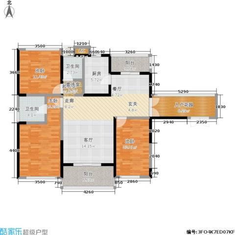 阳光圣菲3室0厅2卫1厨125.00㎡户型图