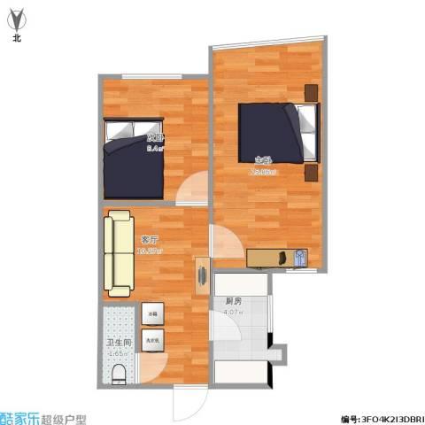 东方东路2室1厅1卫1厨55.00㎡户型图